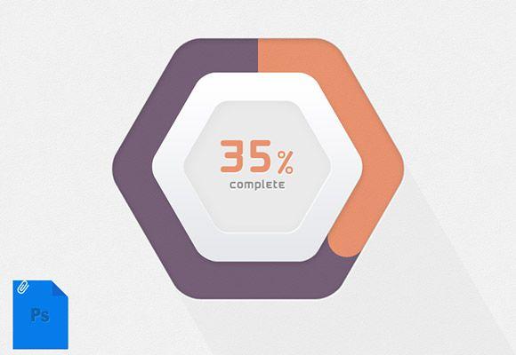 A nice hexagonal progress bar with percent number inside. Free PSD designed byuidynamics.