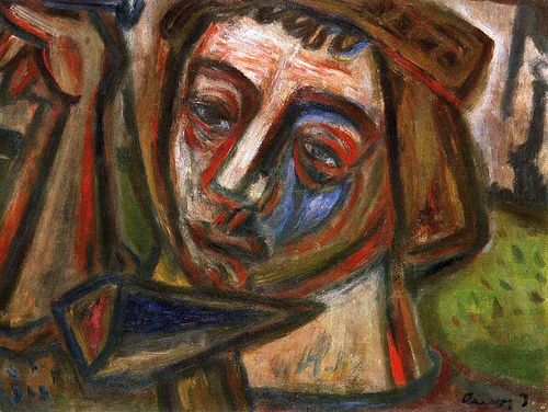 Self-portrait with Nail and Hammer by Ámos (1907~1944 or 1945) was a twentieth century Hungarian Jewish painter. In 1944 he was deported to a concentration camp in Saxony where he later died cruelly at the age of 37 or 38.
