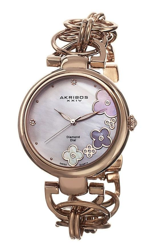 Rose Gold Floral Watch ♡
