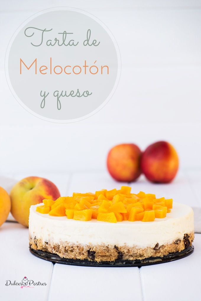 Tarta de melocotón y queso #cheesecake #peach Deliciosa tarta de queso con melocotón, una irresistible tarta sin horno.