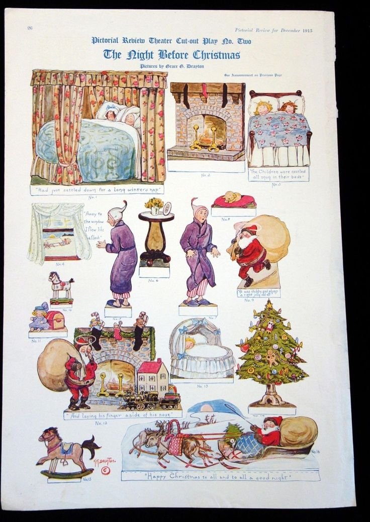Magazine Cut-outs  The Night Before Christmas Theatre Play TNBC Pictorial Review in Dolls & Bears, Paper Dolls, Vintage | eBay