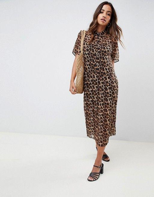 ecee2d13ccc0b2 DESIGN pleated midi shirt dress in leopard print | I'd Wear That ...