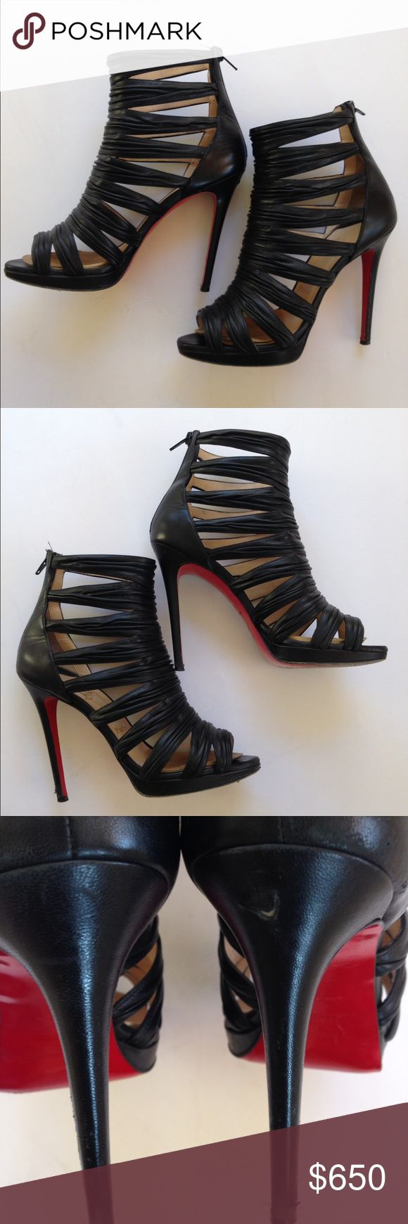 Guaranteed Authentic Christian Louboutin Bootie Tinazata 120 Nappa Leather Ruched Black Sandal Bootie. Heel Height: 4.72 Inches. Material: Leather Upper Leather Lining And Leather Sole.  Condition: Gently Used In Good Condition! Barely Noticeable Nick On Inside Right Heel. Some wearing on lower heel, but not visible while worn.Please enlarge photos to see details of pre-owned condition. Will ship with original box and dust bag. 🚫 Trades 🚫Lo ball offers please. Christian Louboutin Shoes…