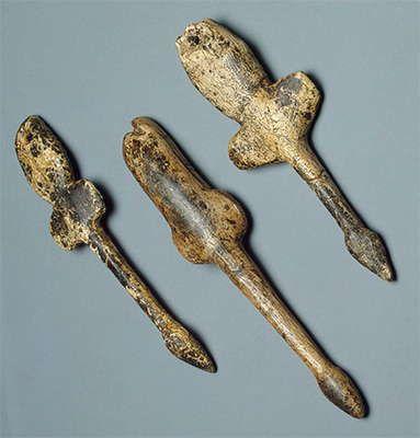 Pendants shaped like flying birds Mammoth tusk; carved. Heights 117, 103, 100 mm. Maltinsko-buretskaya Culture. 23 000 - 19 000 BP Malt...