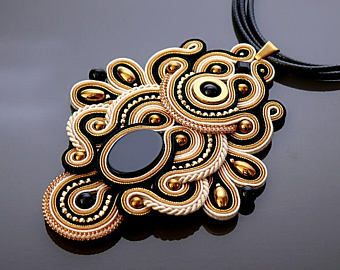 Gold black Soutache necklace with Onyx and Hematite.