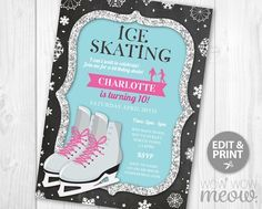 Ice Skating Invitation Birthday Party INSTANT DOWNLOAD Silver Glitter Invite Girls Any Age Christmas Snowflake Skate Pink Editable Printable
