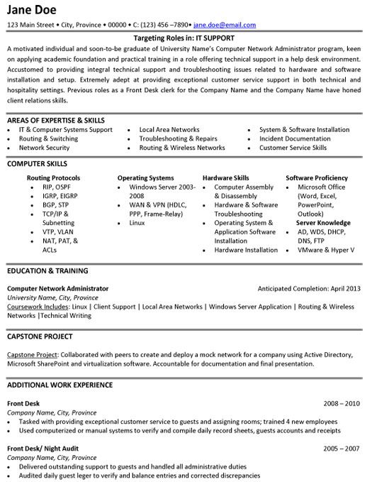 computer technical support resume