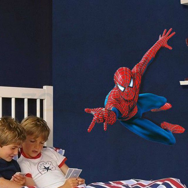 New Spiderman wall decal Removable sticker art kids bedroom 100 x 93 cm on wall