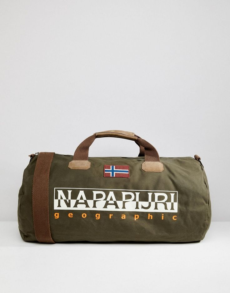 NAPAPIJRI BERING 1 DUFFLE BAG IN KHAKI - GREEN. #napapijri #bags #travel bags #weekend #suede #