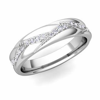 Wave Wedding Band in 14k Gold Diamond Ring, 4mm. #MyLoveWeddingRing