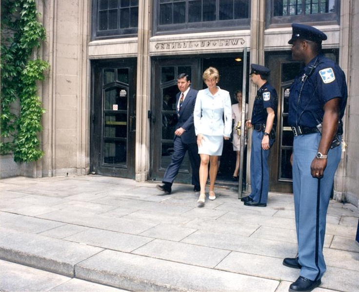 June 5, 1996:  Princess Diana visiting Northwestern University School of Law in June 1996.  Evanston, Illinois