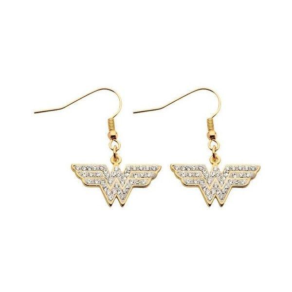 Women's DC Comics Wonder Woman Stainless Steel CZ Dangle Earrings Gold ($20) ❤ liked on Polyvore featuring jewelry, earrings, stainless steel earrings, cz jewellery, long earrings, cubic zirconia dangle earrings and gold cz earrings