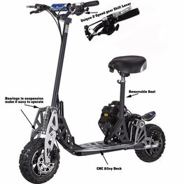 UberScoot 2x 50cc Gas Powered Scooter by Evo Powerboards, EPA approved 2-Stroke Engine, 2 Speed Transmission & Free Removable Seat