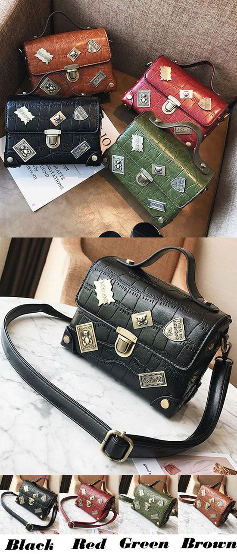 Retro Suitcase Crocodile Grain Metal Badges Flap Women PU Small Handbag Shoulder Bag for big sale! #Bag #retro #pu #handbag #metal #women