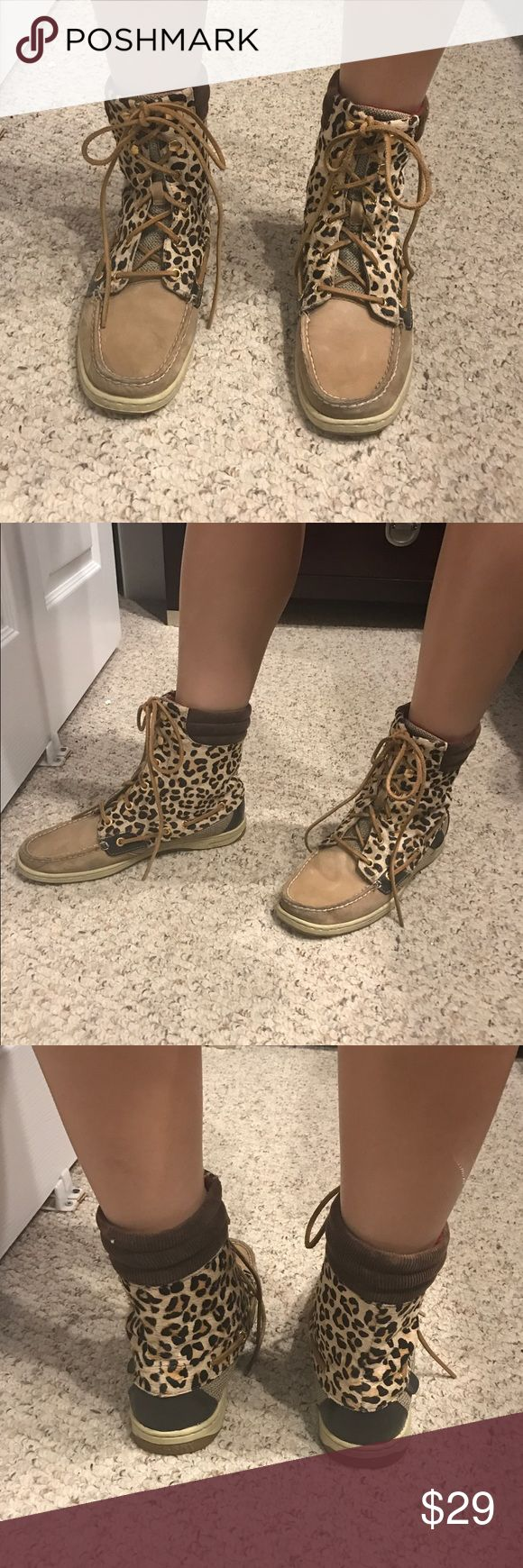 Sperry High Tops Sperry leopard high tops. Good condition. Sperry Shoes Ankle Boots & Booties