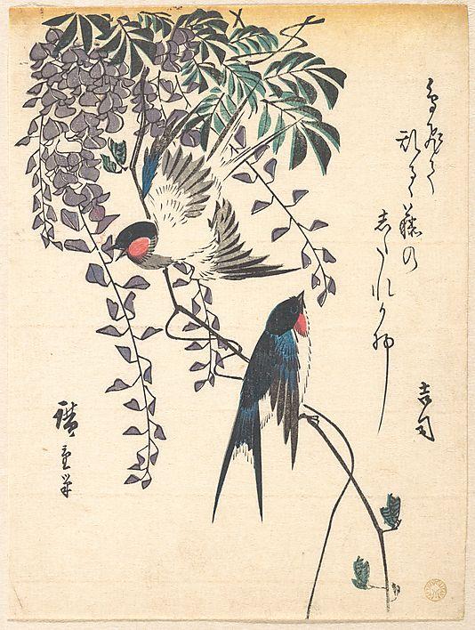 Swallow and Wisteria  by Utagawa Hiroshige