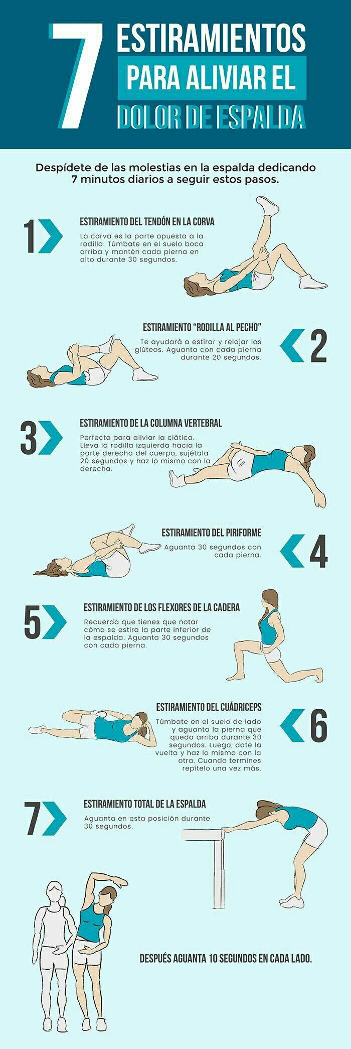 Estiramientos para aliviar y prevenir el dolor de espalda.