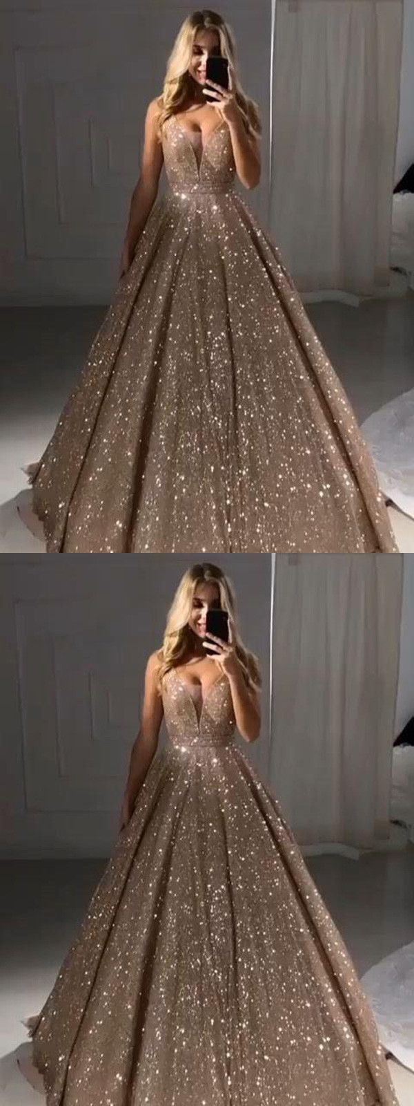 Ball Gown Gold Prom Dress Plus Size Cheap African Prom Dress # VB3580