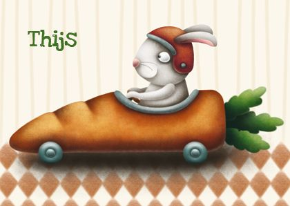 Postmus geboortekaartjes, birth, birth annoucement, card, kaarthes, rabbit, bunny, carrot, car, illustration, cute