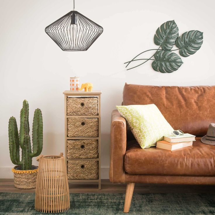 The perfect cactus corner for your living room | KAMPALA Basketwork 4-drawer storage unit | Maisons du Monde