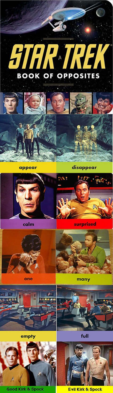 Star Trek Book of Opposites board book. Oh, I know what my mom's gag gift this Christmas is going to be.