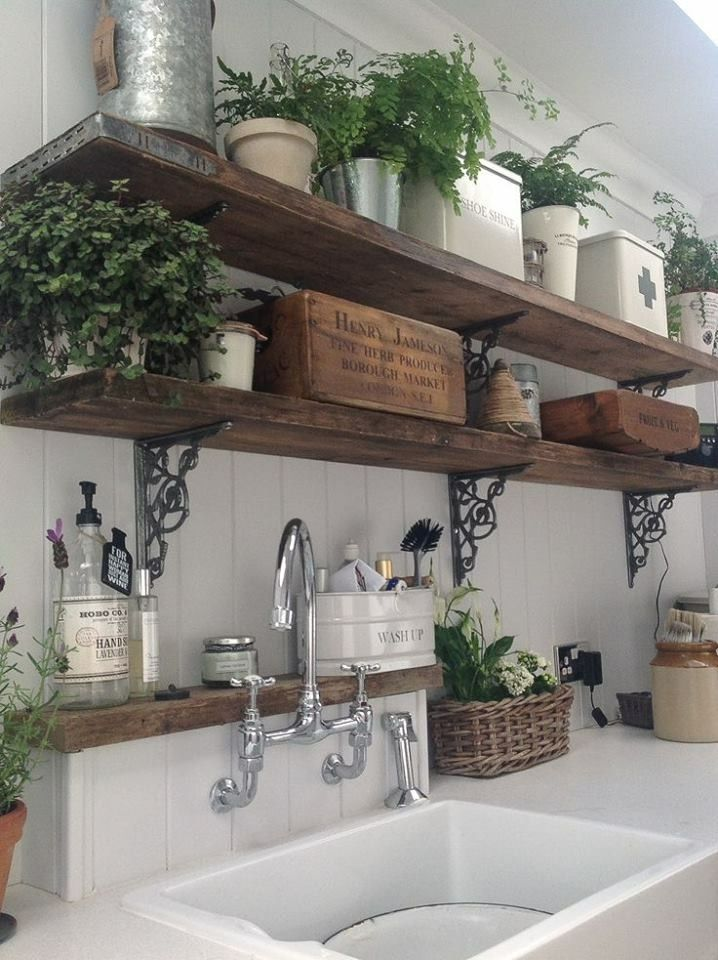 shelves, mink and faucet