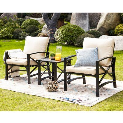 Gracie Oaks Derwent 3 Piece 2 Person Seating Group with Cushion Cushion Color: Khaki