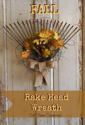 Hill House Homestead: Fall Rake Head Wreath