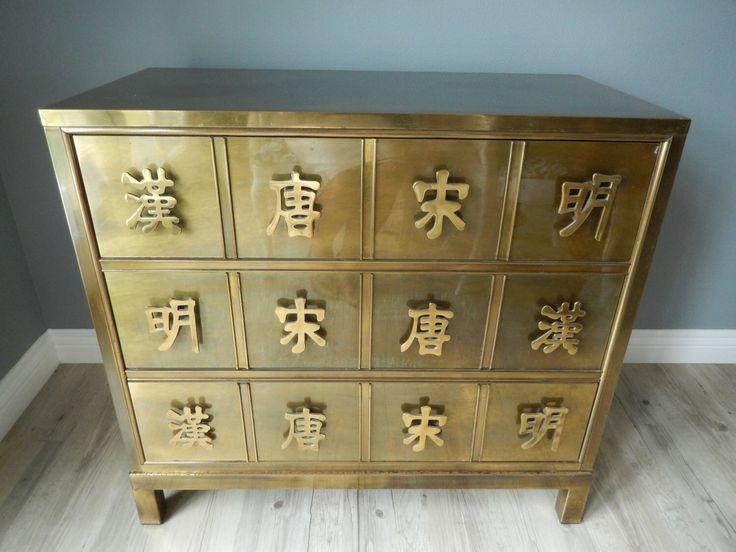Mastercraft Brass Clad Dresser - Vintage Batchelor Chest - Asian Inspired Cabinet - Hollywood Regency Chest of Drawers - Asian Dresser by LaChicVintageCloset on Etsy https://www.etsy.com/listing/398511525/mastercraft-brass-clad-dresser-vintage