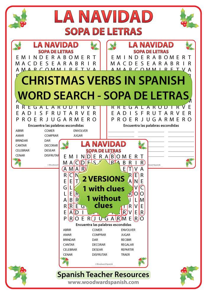 Word search with christmas verbs in spanish sopa de - Sopa de letras de navidad ...
