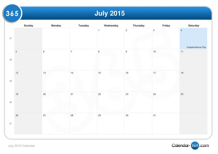July 2015 Calendar US - Get an exclusive collection of July 2015 Calendar Printable Template, Word, Doc, Pdf and Holidays in US, UK, NZ, Canada, Australia.