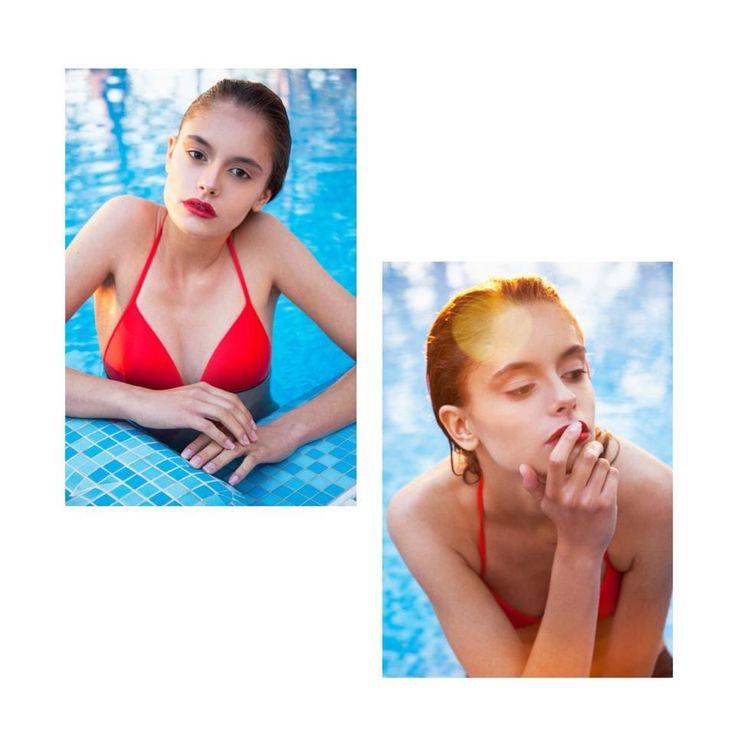 Photo shoot in red spaghetti stripe bikini set @Pelsoswimwear