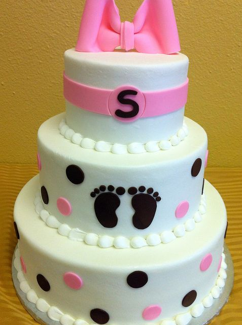 white pink brown baby shower cake (would like purple or gray instead of brown) This is pretty, yet simple :)