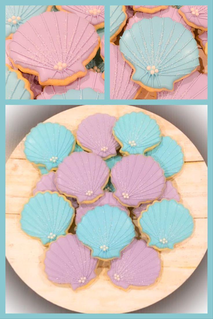 Seashell Cookies Little Mermaid Bridal Shower Bridal Shower Beach Theme