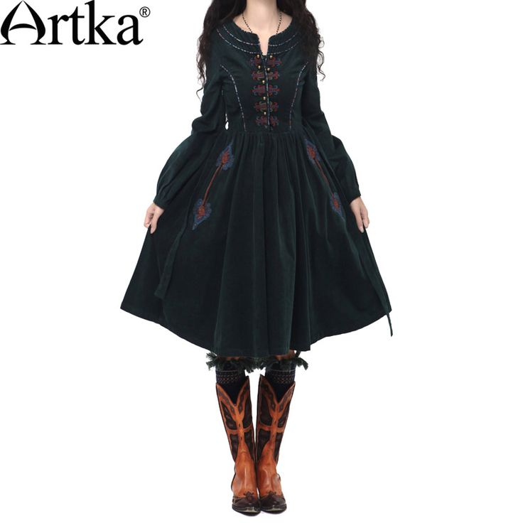 Artka Women'S Autumn Vintage O-Neck Lantern Sleeve Solid Embroidery Patchwork Expansion Bottom Cotton Dress LA10241Q
