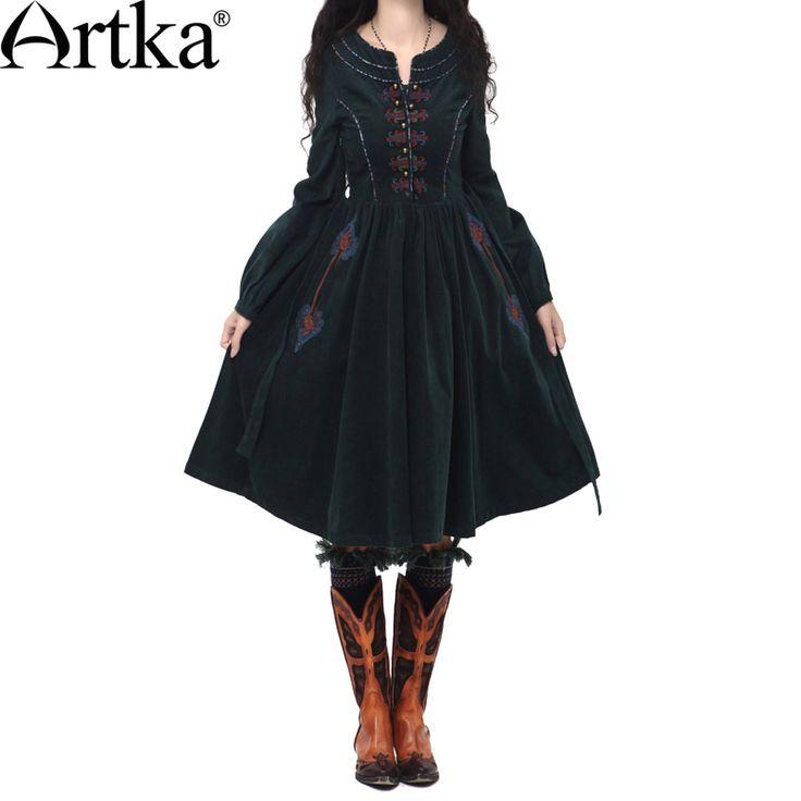 Купить товарArtka 2015 женская ретро новая коллекция осеней одежды с рукавом фонарщики черное высококачественное элегантное платье с вышивкой LA10241Q в категории Платьяна AliExpress.