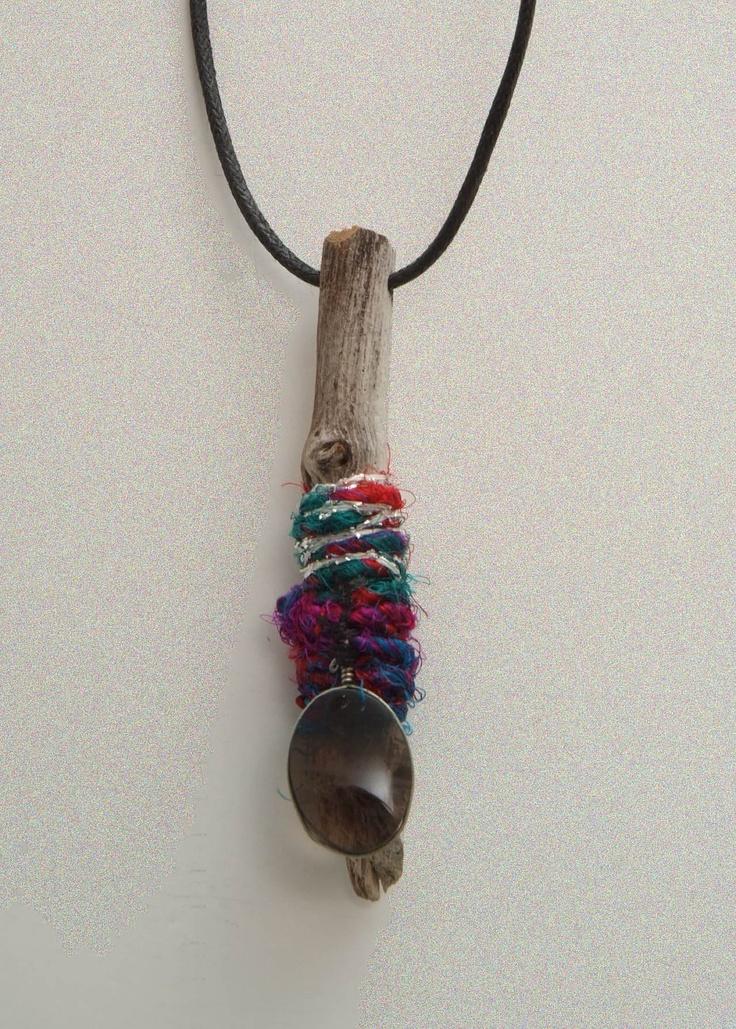 Driftwood Sari Silk Yarn and a Charm necklace. $16.00, via Etsy.