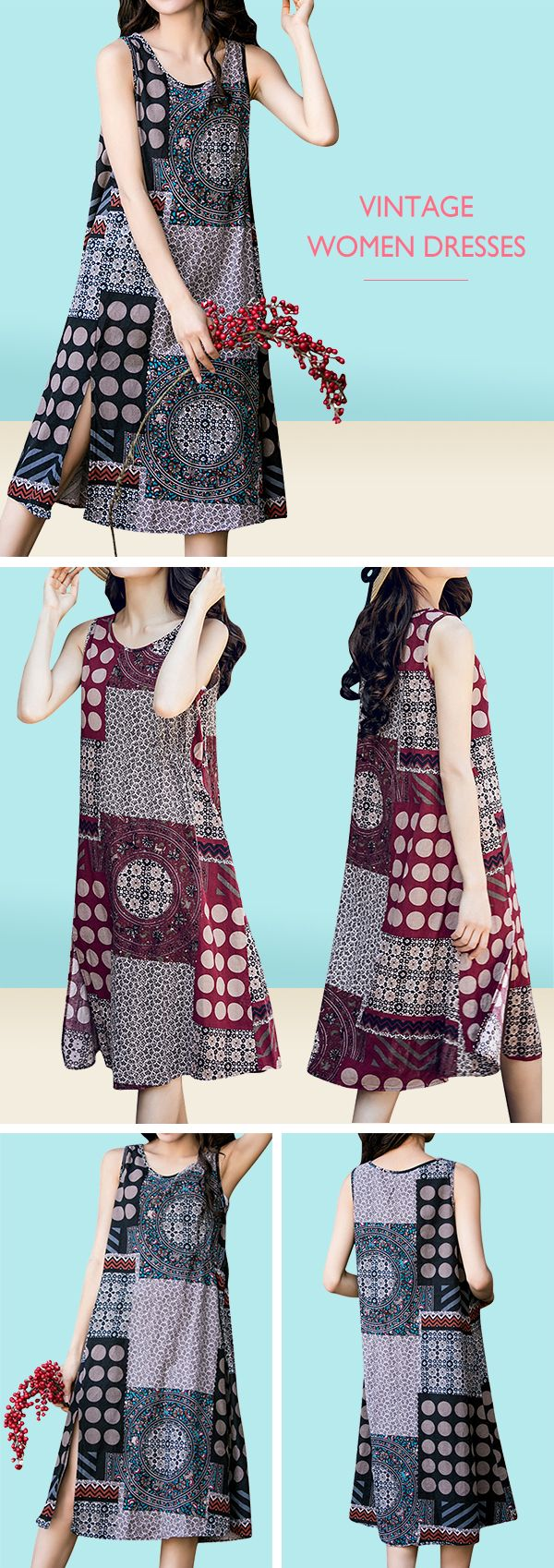 US$ 17.96 Ethnic Printed Sleeveless Vintage Women Dresses