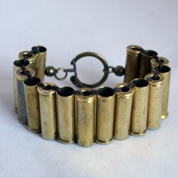 Bracelet from bullet shells. I'll have to collect them next time we go shooting.