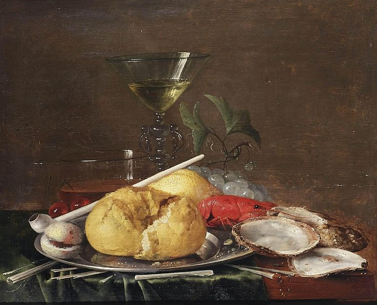 Jan Davidsz. de Heem (Utrecht 1606-1683 Antwerp) A Façon-de-Venise wine glass, a glass of beer, cherries, a bread roll, an apricot, a clay pipe and a crayfish on a pewter plate, with grapes, oysters and kindling on a partially draped wooden table oil on panel, stamped on the reverse with the panel maker's mark of François de Bout and with the coat-of-arms of the City of Antwerp 34.2 x 42.1 cm. with a red wax seal with monogram 'AVS.' on the reverse.