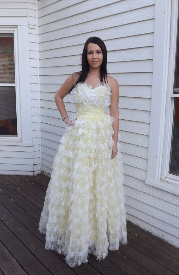 50s Yellow Prom Dress Formal Strapless 1950s Party by soulrust