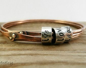 Triple Bangle, Copper Bangle, Stacking Bangle, Cold Connected Bangle, Sterling Silver, Personalized Bangle, Mixed Metal Bangle