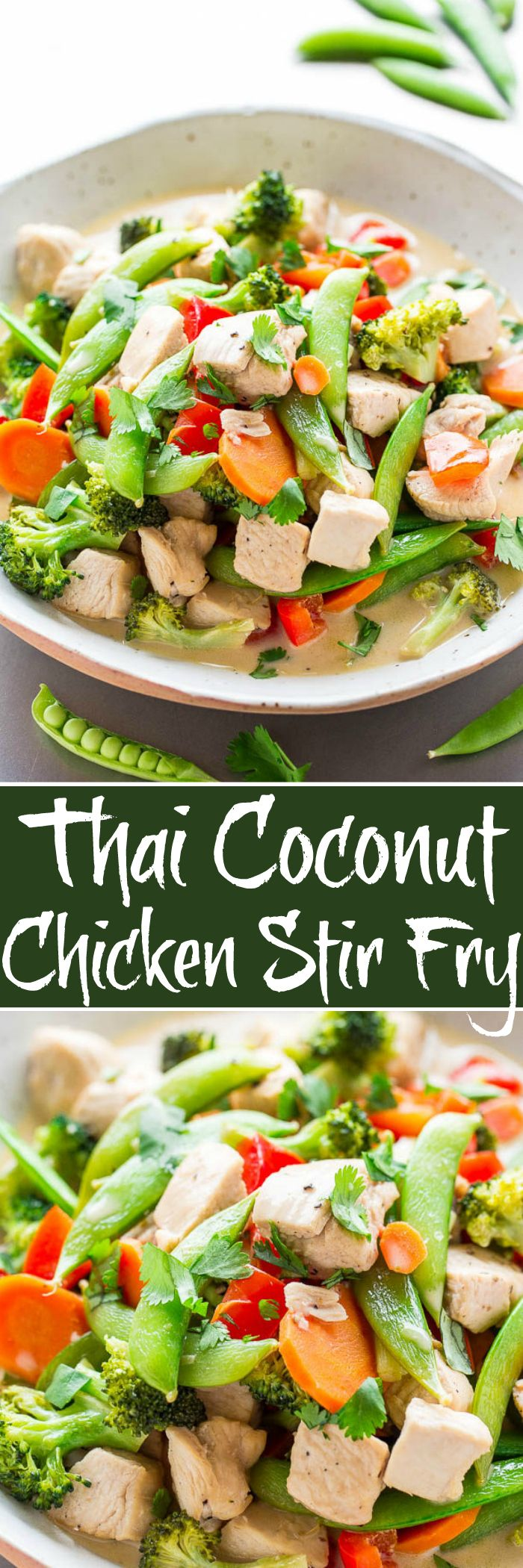 Thai Coconut Chicken Stir Fry - Chicken, sugar snap peas, bell peppers, and carrots simmered in a rich coconut milk broth that's irresistible!! Layers of flavor, EASY, ready in 20 MINUTES, and HEALTHY!!