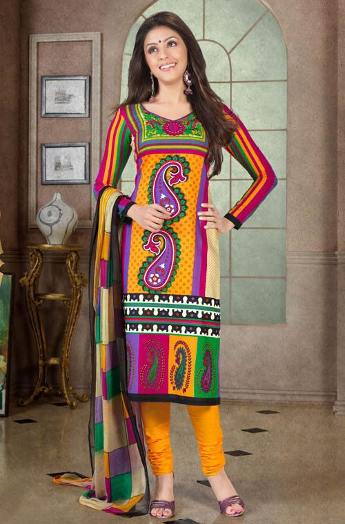Aarti Chhabria Multi Color Cotton Dress Material