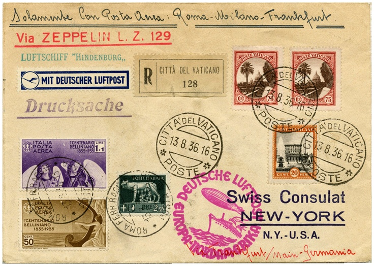 Hindenburg Vatican dispatch 7th North America flight cover from 1936. Zeppelins carried transatlantic mail originating in many European countries. This registered, printed matter-rate cover traveled by plane from Rome to Milan to Frankfurt for the zeppelin post connection.Illustrations Art, Covers Travel, America, Taste Style, European Country, Post Letters Stamps Art, Flight Covers, Antiques Country'S Primitives, Beautiful Mail