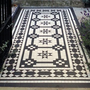 London Mosaic - Classical Georgian Black and White Tile Design - like the pattern but possibly do in grey / lighter colours instead of black