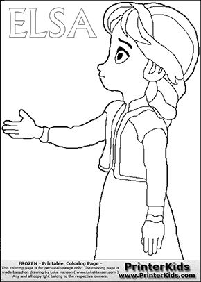 Coloring page with ELSA from the 2013 movie by DISNEY PIXAR called FROZEN (FROST in several countries as well). This coloring page for printing show young princess Elsa reaching out with her hand as if to shake hands with someone. Print and color this DISNEY FROZEN ELSE page that is drawn by Loke Hansen (http://www.LokeHansen.com) based on a DISNEY FROZEN movie teaser clip.