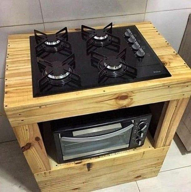 Que Tal Esse Suporte Para Cooktop Feito Com Paletes Sim Ou Nao
