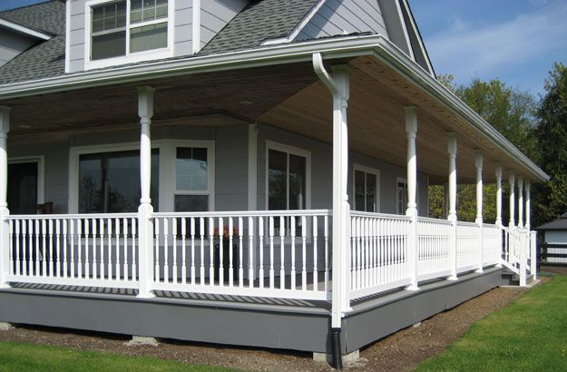 I like the materials used on this wrap-around porch. Fairway Vinyl Systems: Porches Posts, Dreams Houses, Porches Dreams, Fairway Vinyls, Porches And Fence, Porches Ideas, Dreams Porches, Fairway Railings, Porches Railings