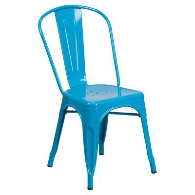 Flash Furniture Metal Indoor-Outdoor Stackable Chair with Splat Back Teal Blue - ET-3534-CB-GG
